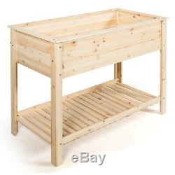 Raised Garden Planter Bed Box Wood Elevated Flower Stand withShelf 48x22x35.5