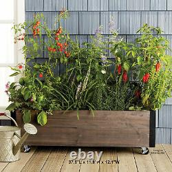 Raised Garden Planter Kit Elevated Wood Rolling Box Bed Flower Grow Seeds Herbs