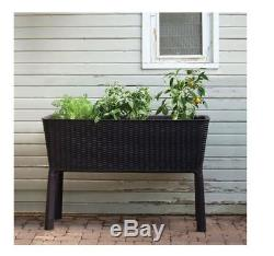 Raised Garden Planter Planters Box Patio Plastic Herb Elevated Bed Keter Brown