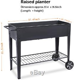 Raised Planter Box With Legs Outdoor Elevated Garden Bed On Wheels For Vegetable