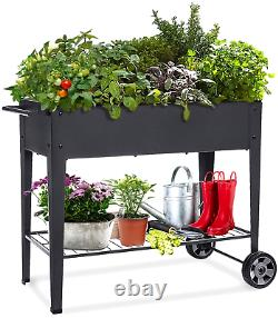 Raised Planter Box with Legs Outdoor Elevated Garden Bed On Wheels Cart Decor