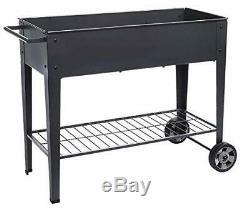 Raised Planter Box with Legs Outdoor Elevated Garden Bed On Wheels for