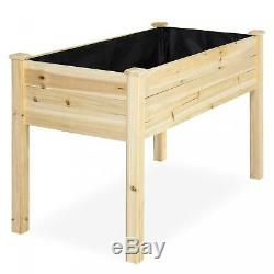 Raised Wood Planter Garden Bed Box Stand for Outdoor Patio 46x22x30 Inch Natural