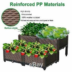 Reliancer Set of 4 Raised Garden Beds withBrackets Elevated Garden Bed Kit Patio