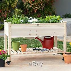 Rolling Raised Garden Bed Elevated Wood Planter Box Stand Backyard Patio Grow