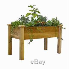 Rustic Elevated Garden Bed Rectangular Flower Herb Tomato Plant Wood Planter Box