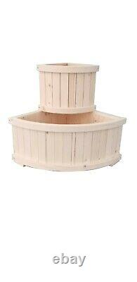 Seny Corner Garden Bed with 2 Big Containers, Elevated Freestanding Planter Box