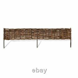 Set of 12 Willow Weave Fence Garden Border Lawn Raised Bed Edging Outdoor 4'x1