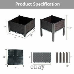 Set of 4 Raised Garden Bed Elevated Flower Vegetable Herb Grow Planter Box Patio