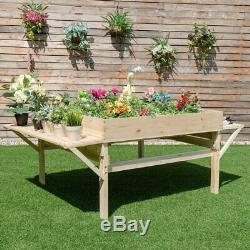 Solid Fir Wood Large 6 ft x 4 ft Elevated Garden Bed Planter