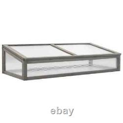 Solid Fir Wood Raised Garden Bed with Greenhouse Outdoor Garden Patio Planter
