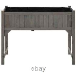 Solid Fir Wood Raised Garden Bed with Greenhouse Outdoor Patio Planter Hand Tools