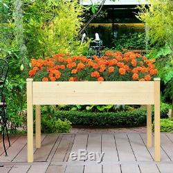 Solid Flowers Bed Wood Raised Garden Box Elevated Planter Plants Kit Hold 331lbs