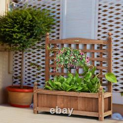 Solid Wood Garden Planter Raised Bed Planter Box with Trellis Weather-Resistant