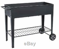 TexasSolar Raised Planter Box with Legs Outdoor Elevated Garden Bed On Wheels