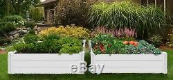 Two Large Raised Garden Beds 2 Pack 48 x 48 White Vinyl Gardening Planter