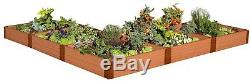 Vegetable Raised Garden Bed Kit L Shaped Classic Sienna Composite 12 ft x 11 in
