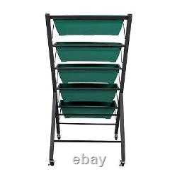 Vertical Freestanding Elevated Raised Garden Bed Flowers Herbs Planter with Wheels