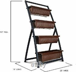 Vertical Herb Garden Planter Box Outdoor Elevated Raised Bed Tiered Foot Flowers