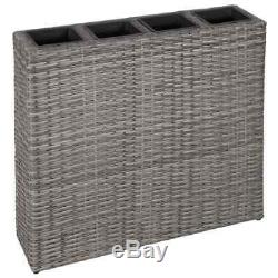 VidaXL Garden Planter with 4 Pots Poly Rattan Grey Lawn Flower Box Raised Bed