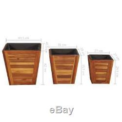 VidaXL Solid Acacia Wood Garden Raised Bed Set 3 Piece Square Tool Outside Pot