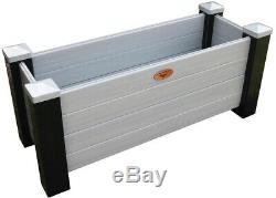Vinyl Planter Box Weather Resistant with Fabric Liner Black/Gray, 18 x 48 x 20 in