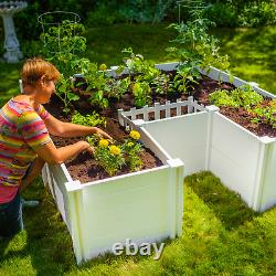 Vita Keyhole 6 ft x 6 ft Composting Garden Bed Built-In Composter Expandable
