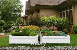 White Vinyl Raised Garden Bed 48 L x 48 W x 11 2-Pack Outdoor Planter Box New