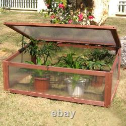 Wood Cold Frame Clear Garden Greenhouse Raised Potted Plant Bed Protection Box