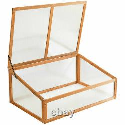 Wood Cold Frame Greenhouse Garden Raised Potted Plant Flower Bed Protection Box