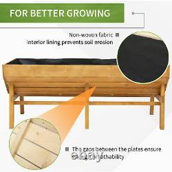 Wood Elevated Garden Plant Bed with Growing Space & Great Breathability, Natural
