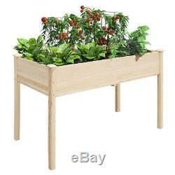 Wood Planter Garden Bed 46in Raised Plant Vegetable Box Stand for Indoor Outdoor