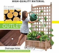 Wood Planter Raised Bed Free-Standing Planter for Garden Yard with Trellis