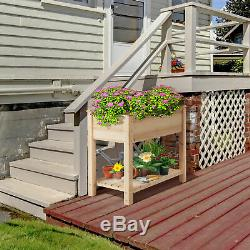 Wood Raised Elevated Garden Bed Planter Box Kit for Vegetables with Shelf Wooden