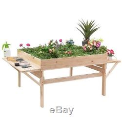 Wood Raised Planter Bed Elevated Garden Stand Container Flowers Gardening Grow