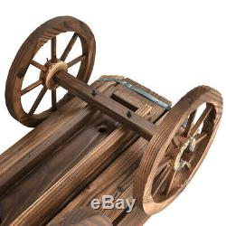 Wood Wagon Elevated Raised Garden Bed Planter Box Outdoor Large With Wheels Legs