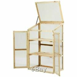 Wooden Garden Cold Frame Greenhouse Raised Planter Bed Protection Foldable Top