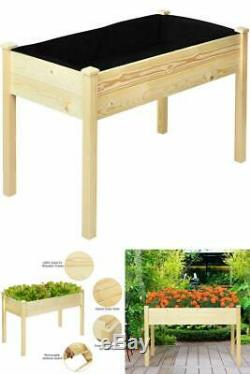 Wooden Raised Garden Bed Vegetable Elevated Grow Herb Planter Table Heavy Duty