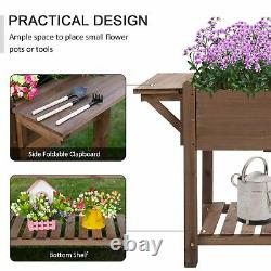 Wooden Raised Garden Plant Stand Tall Flower Bed with Shelf 123 x 54 x 74cm