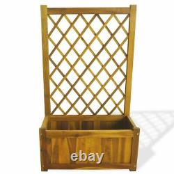 Wooden Solid Acacia Wood Garden Raised Bed with Trellis Outdoor Flower Bed Box